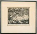 Block print of pelicans
