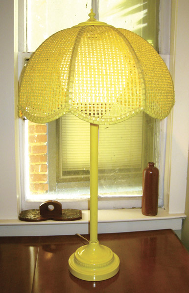 Yellow Tole Lamp with Original Wicker Shade