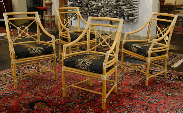 Delightful Set Of Four McGuire Rattan Target Chairs